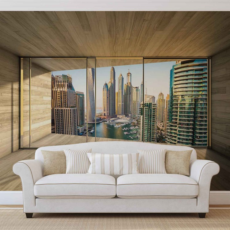 fototapete tapete fenster stadt dubai city skyline marina bei europosters kostenloser versand. Black Bedroom Furniture Sets. Home Design Ideas