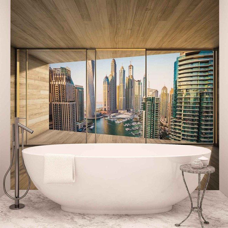 Fenster Stadt Dubai City Skyline Marina Fototapete