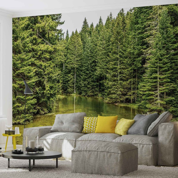 fototapete tapete fluss wald natur bei europosters kostenloser versand. Black Bedroom Furniture Sets. Home Design Ideas