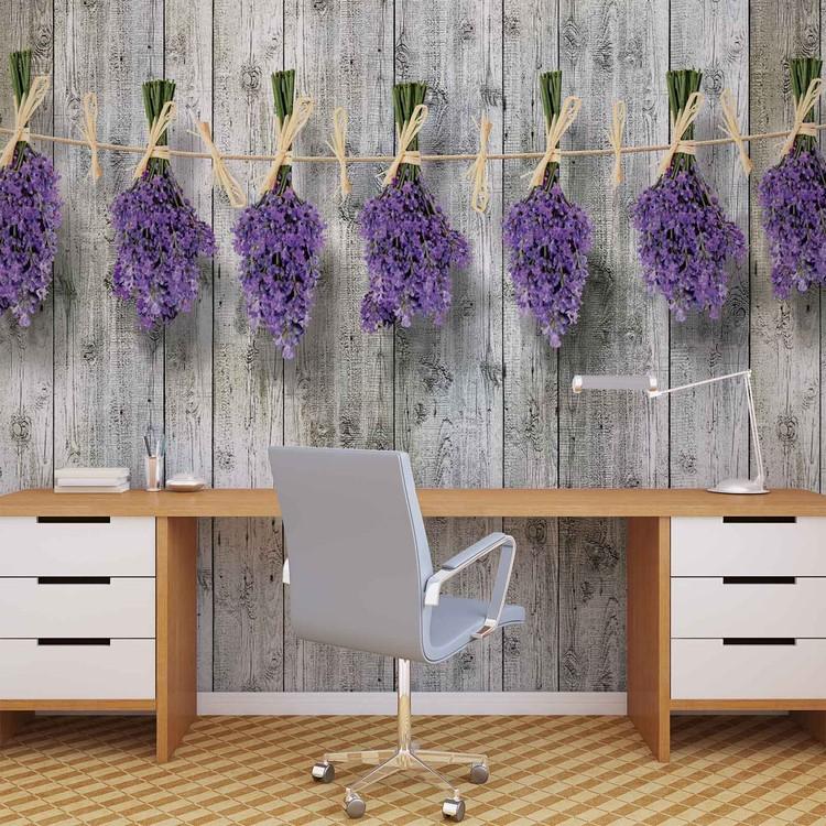 fototapete tapete holz wand blumen lavendel bei. Black Bedroom Furniture Sets. Home Design Ideas