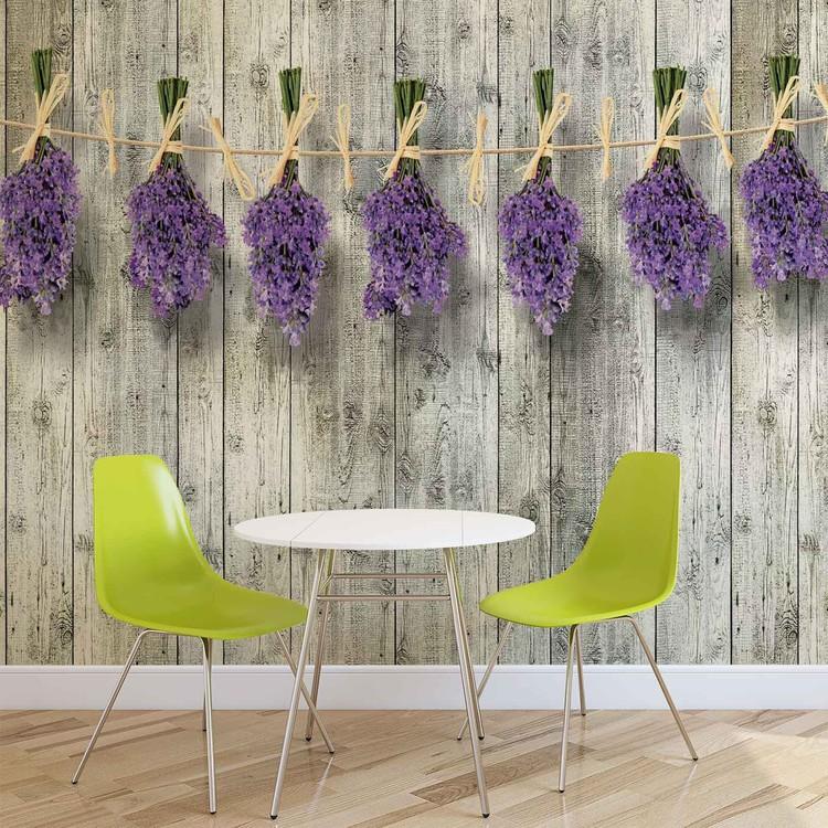 Holz Wand Blumen Lavendel Fototapete