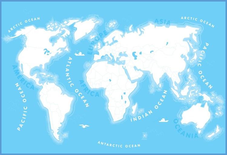 Karte von Welt, Weltkarte für Kinder Fototapete