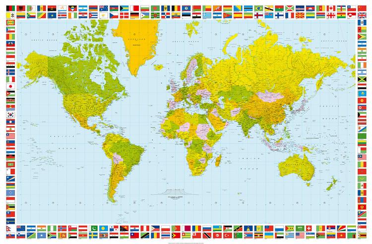 Karte von Welt, Weltkarte - Politische Karte Fototapete