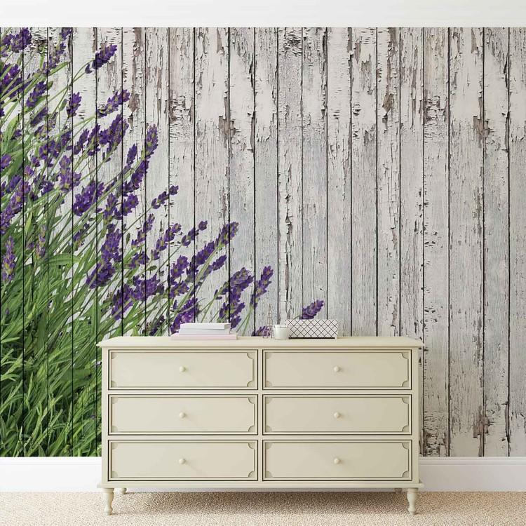 fototapete tapete lavendel blumen holz planken vintage bei europosters kostenloser versand. Black Bedroom Furniture Sets. Home Design Ideas