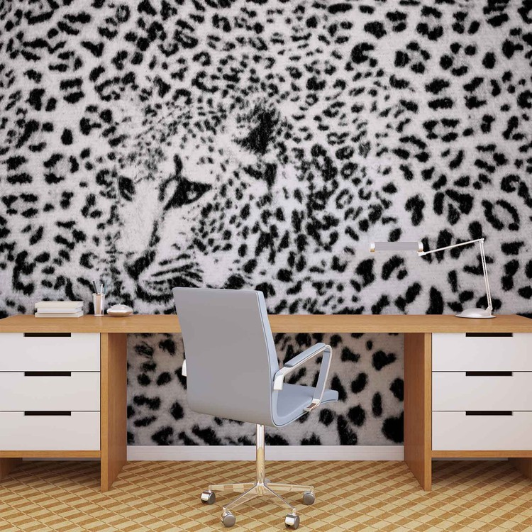 Fototapete, Tapete Leopard Schwarz Weiß bei EuroPosters ...