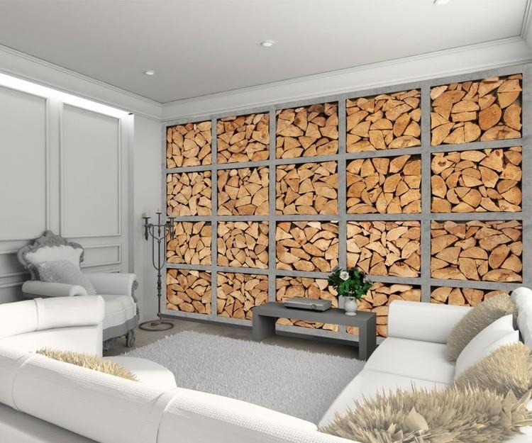Light industrial log wall Fototapete