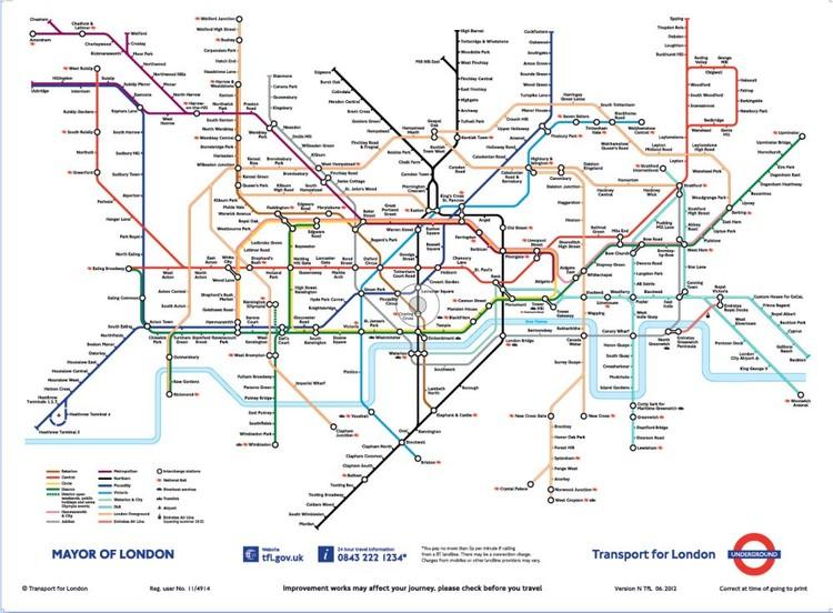 London Untergrundbahnen Karte Fototapete