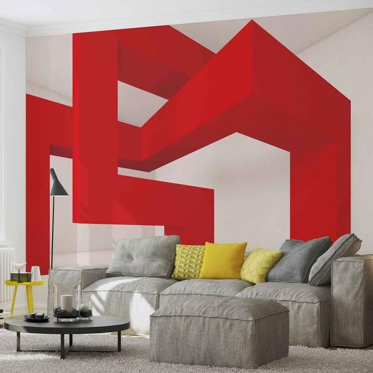 Fototapete tapete modernes abstraktes rot wei bei europosters kostenloser versand - Moderne fototapeten ...