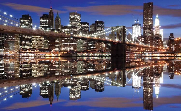 fototapete tapete new york brooklyn bridge nacht bei europosters kostenloser versand. Black Bedroom Furniture Sets. Home Design Ideas