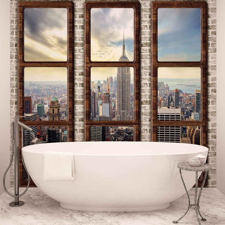 New York City Skyline Fenster Ausblick Fototapete
