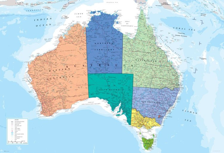 Politische Landkarte Australien Fototapete