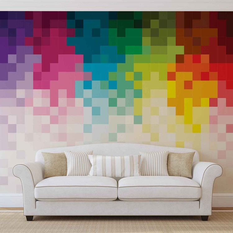 Regenbogen Muster Pixel Fototapete