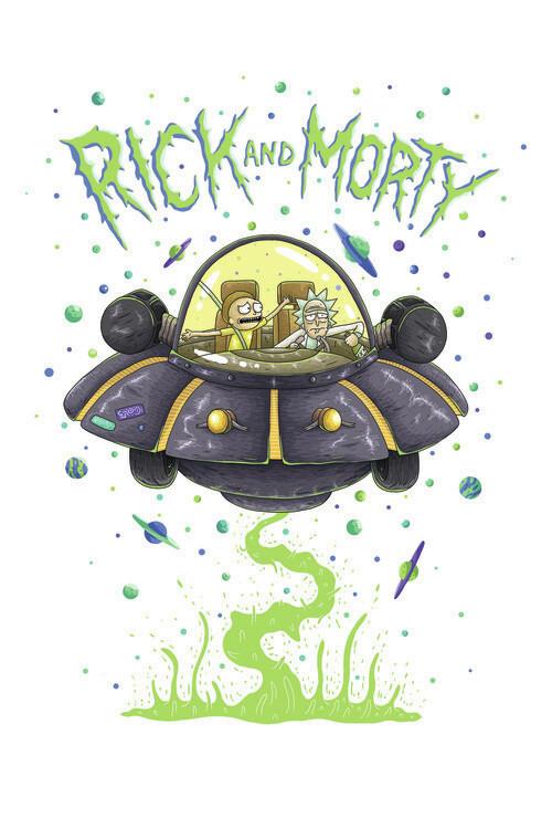 Rick & Morty - Raumschiff Fototapete