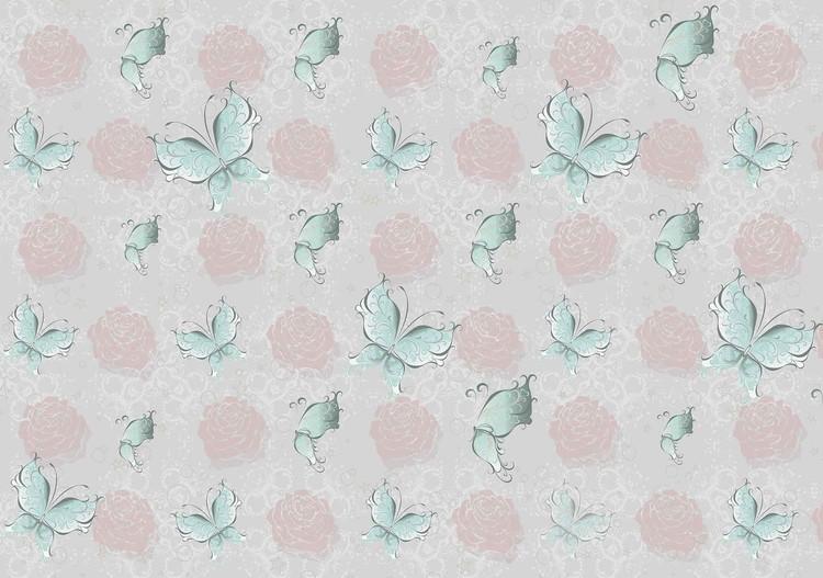 Fototapete, Tapete Schmetterlingen und Rose-Muster bei EuroPosters ...