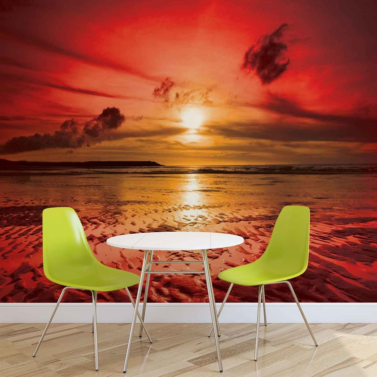 fototapete tapete sonnenuntergang strand bei europosters kostenloser versand. Black Bedroom Furniture Sets. Home Design Ideas