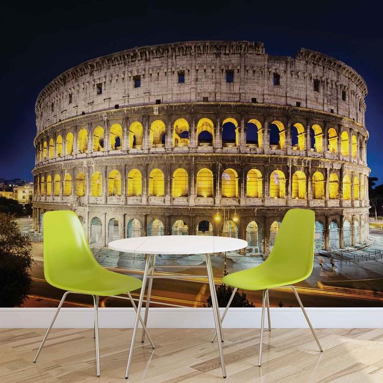 fototapete tapete stadt kolosseum rom nacht bei europosters kostenloser versand. Black Bedroom Furniture Sets. Home Design Ideas