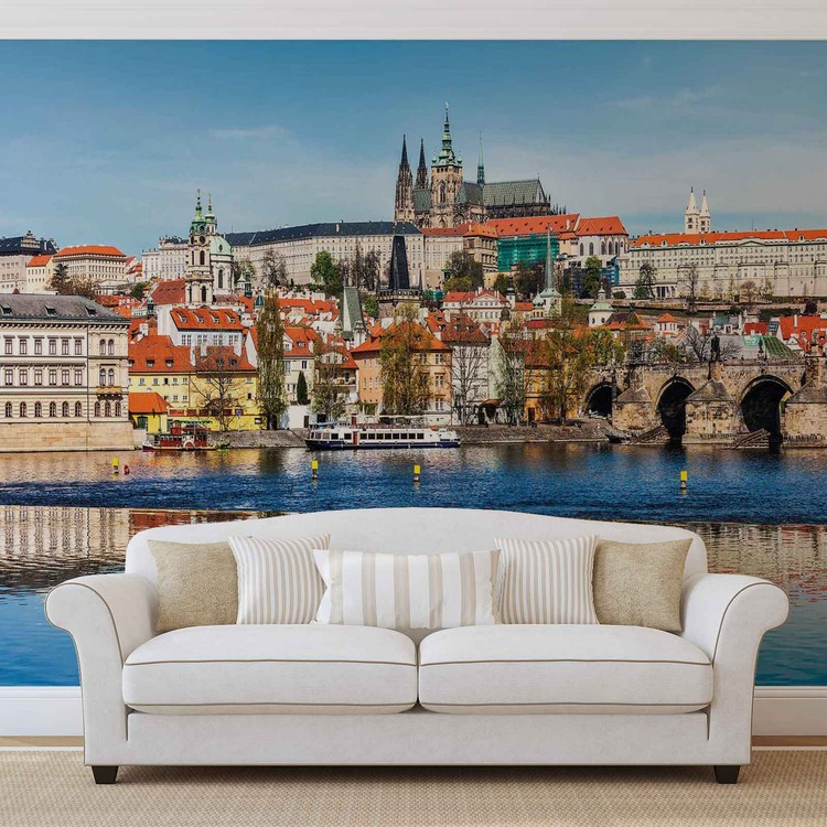 fototapete tapete stadt prag br cke fluss dom bei europosters kostenloser versand. Black Bedroom Furniture Sets. Home Design Ideas