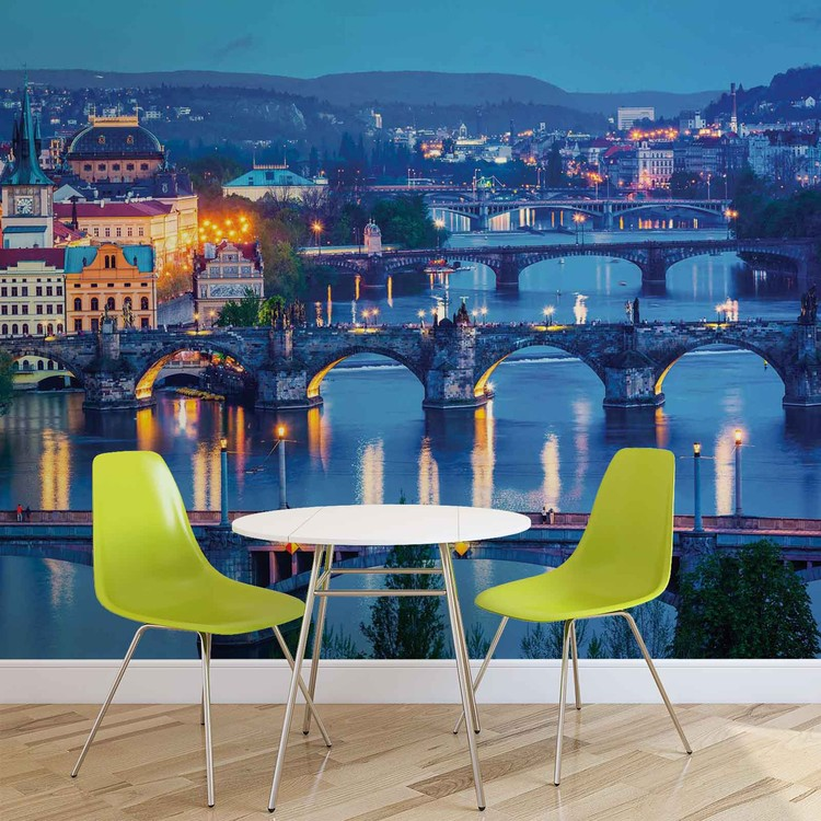 Stadt Prag Fluss Brücke Fototapete