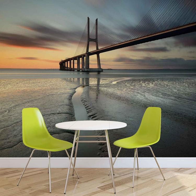 Stadt Strand Brücke Sonnenuntergang Fototapete