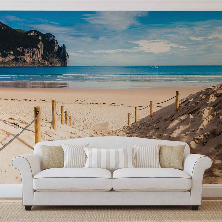 fototapete tapete strand weg natur see sand klippe bei. Black Bedroom Furniture Sets. Home Design Ideas