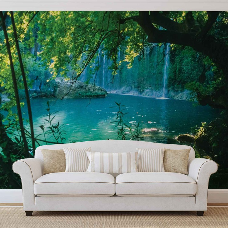 fototapete tapete tropischer wasserfall lagune wald bei europosters kostenloser versand. Black Bedroom Furniture Sets. Home Design Ideas