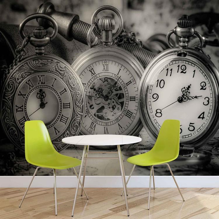 Fototapete, Tapete Uhren Vintage Schwarz Weiß bei EuroPosters ...