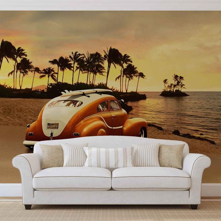 Vintage Auto Surf Strand Fototapete
