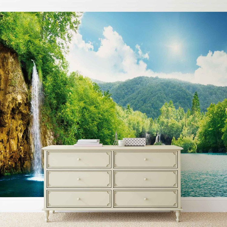fototapete tapete wasserfall see natur bei europosters. Black Bedroom Furniture Sets. Home Design Ideas