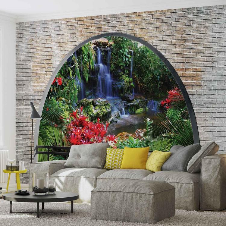 fototapete tapete wasserfall wald ausblick fenster bei europosters kostenloser versand. Black Bedroom Furniture Sets. Home Design Ideas
