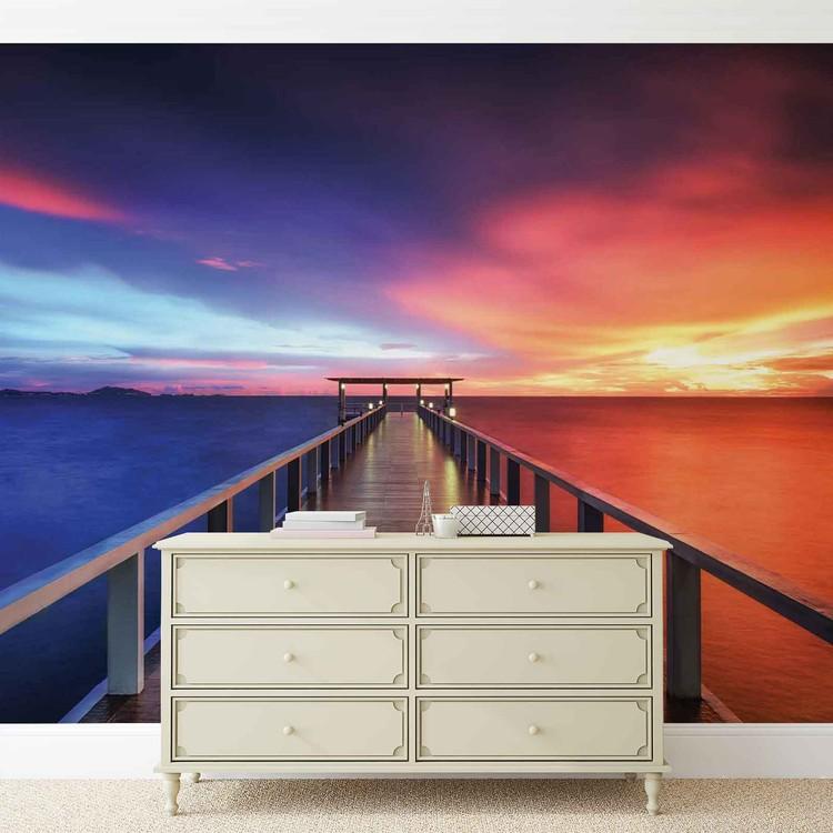 Weg Brücke Sonne Sonnenuntergang Fototapete