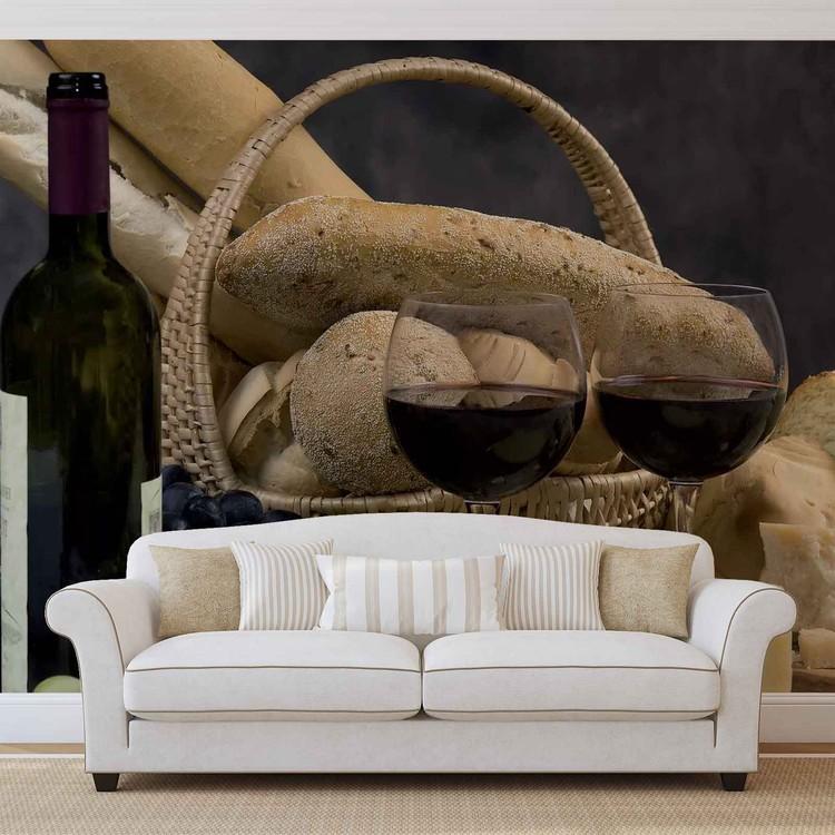 Wein Brot Trauben Fototapete