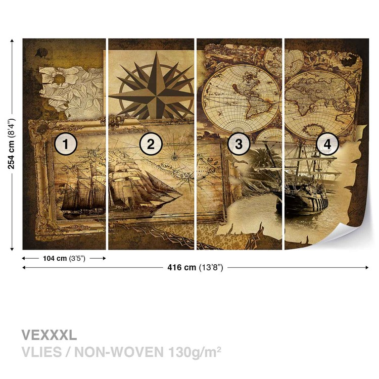Weinlese-Schiffe und Karten Fototapete