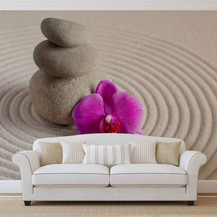 Zen Garten Blume Orchidee Fototapete