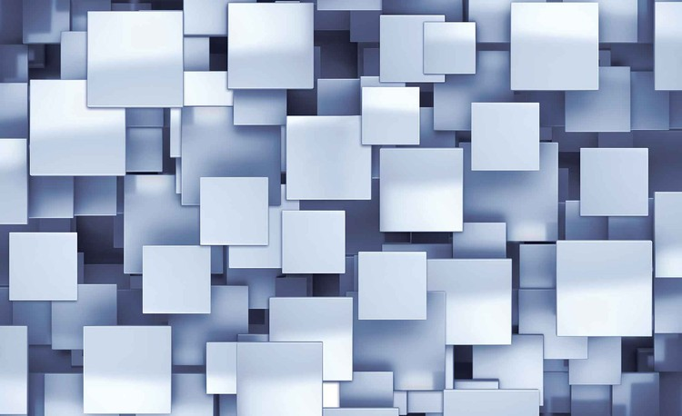 Abstract Squares Modern Blue Fototapet