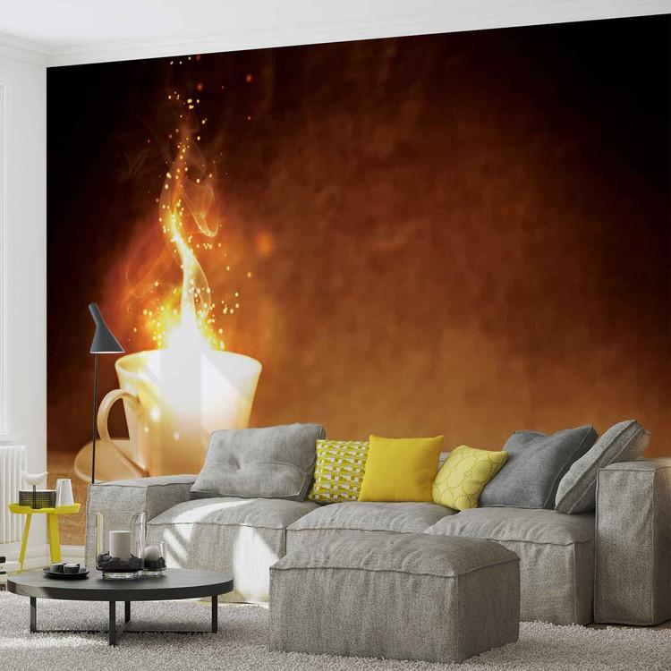 Coffee Cafe Fire Fototapet