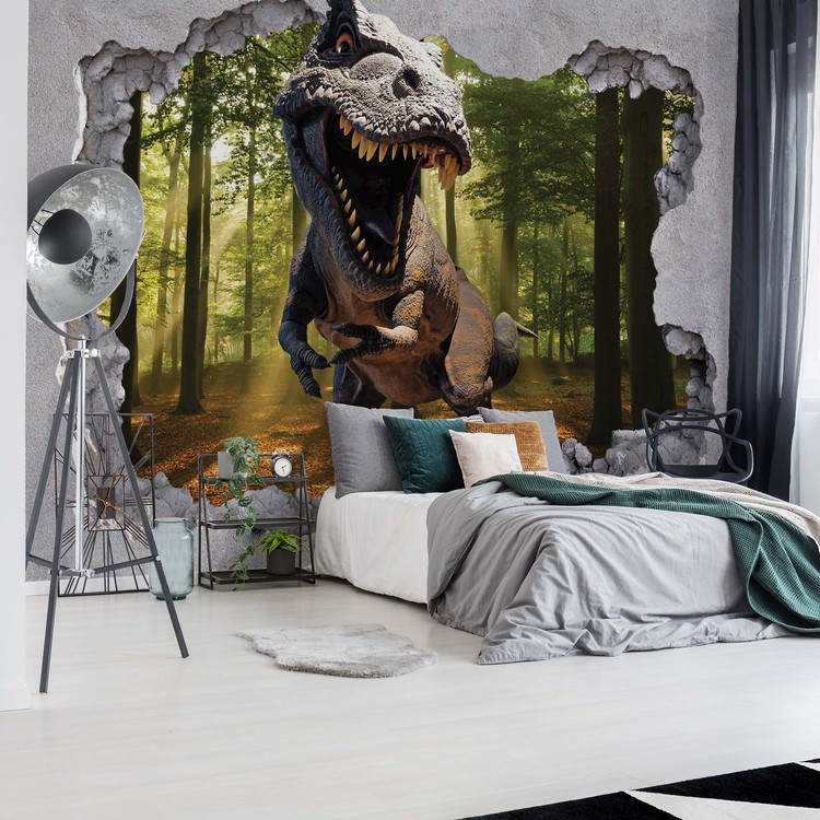 3D Wallpaper Mural of Dinosaur Jumping Out Of Hole In Wall