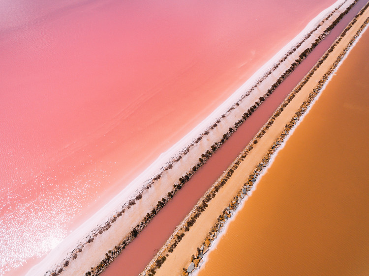 Fototapeta Aerial view of a salt lake
