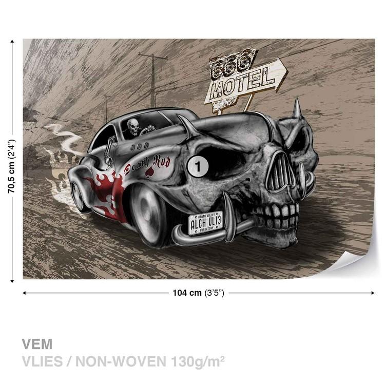 Alchemy Death Hot Rod Car Skull Fototapeta