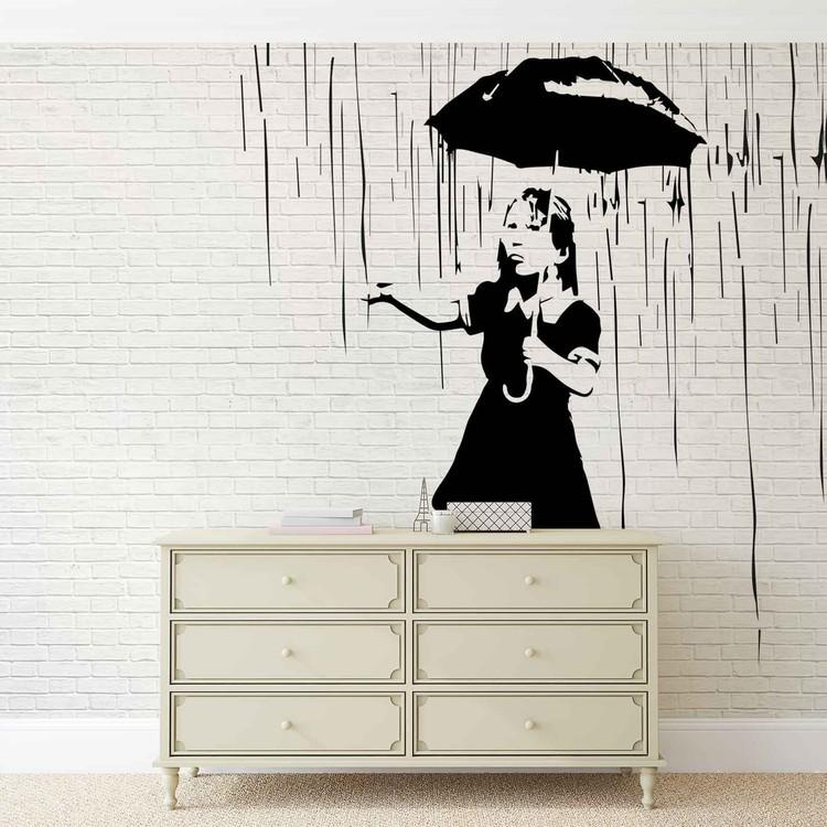 Fototapeta Banksy graffiti - cihlová zeď