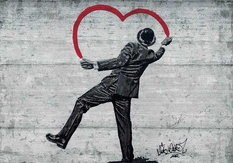 Fototapeta  Banksy graffiti múr - betónová stena