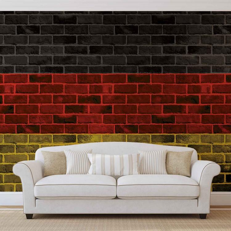 Fototapeta  Cihlová stěna - Německá vlajka
