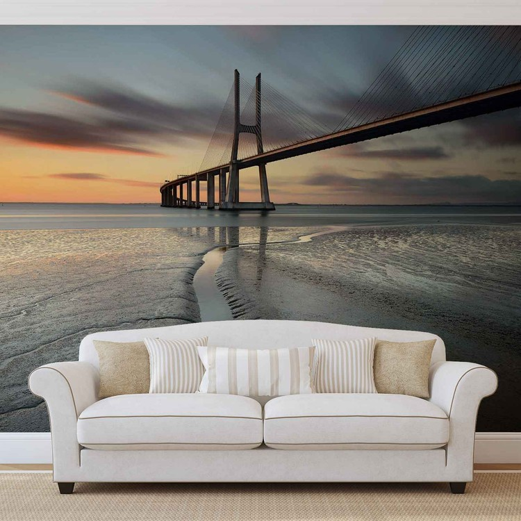 Fototapeta City Bridge Beach Sun Portugal Sunset