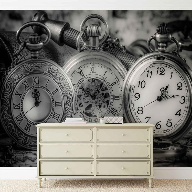 Czarno Białe Zegary Fototapeta