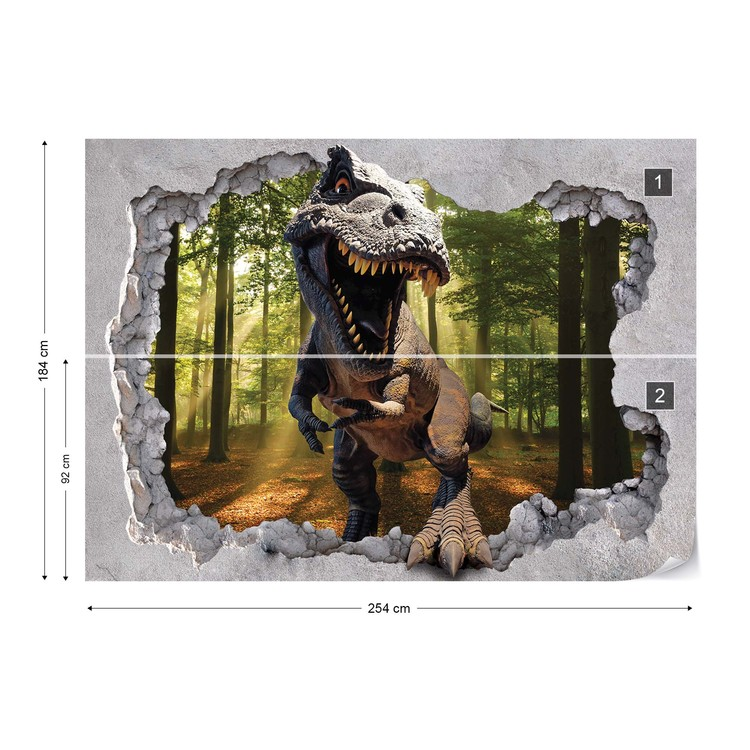 Fototapeta Dinosaur 3D Jumping Out Of Hole In Wall