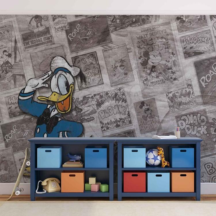Fototapeta  Disney - Kačer Donald, vintage noviny