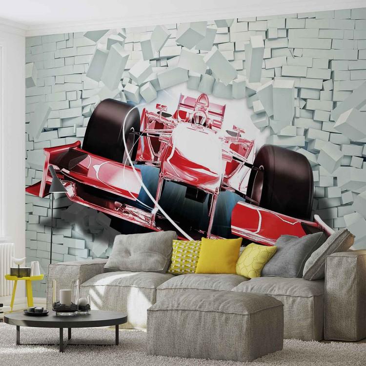 Fototapeta Formula 1 - tehlová stena
