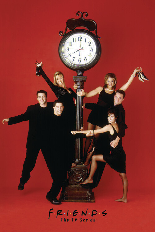 Friends - Red wall clock Fototapeta