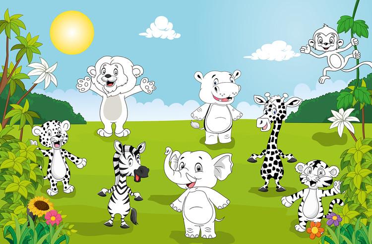 Fototapeta Happy Animals - COLOR IT YOURSELF