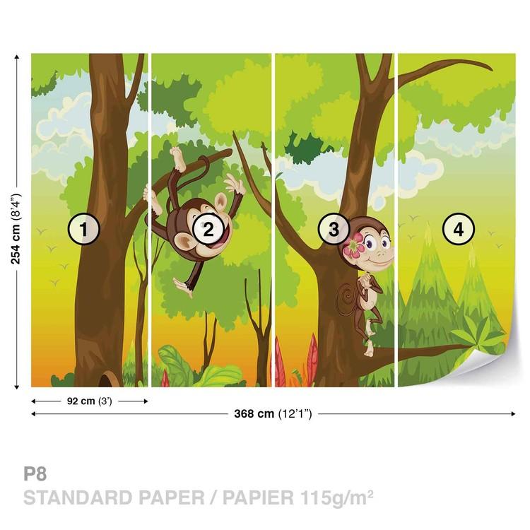 Fototapeta  Kreslené opičky do dětského pokoje