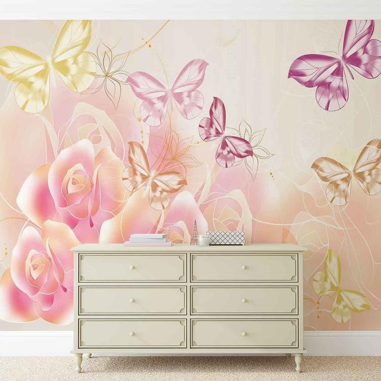 Fototapeta  Květiny a motýli